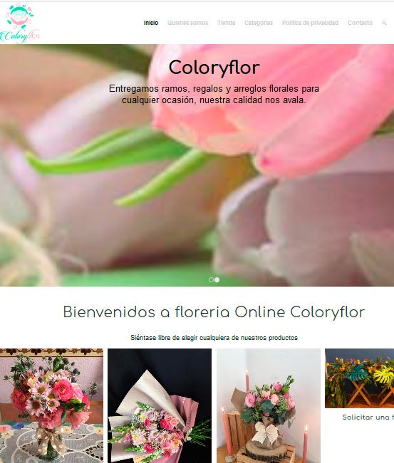 Ejemplo de tiendas virtuales flores a domicilio